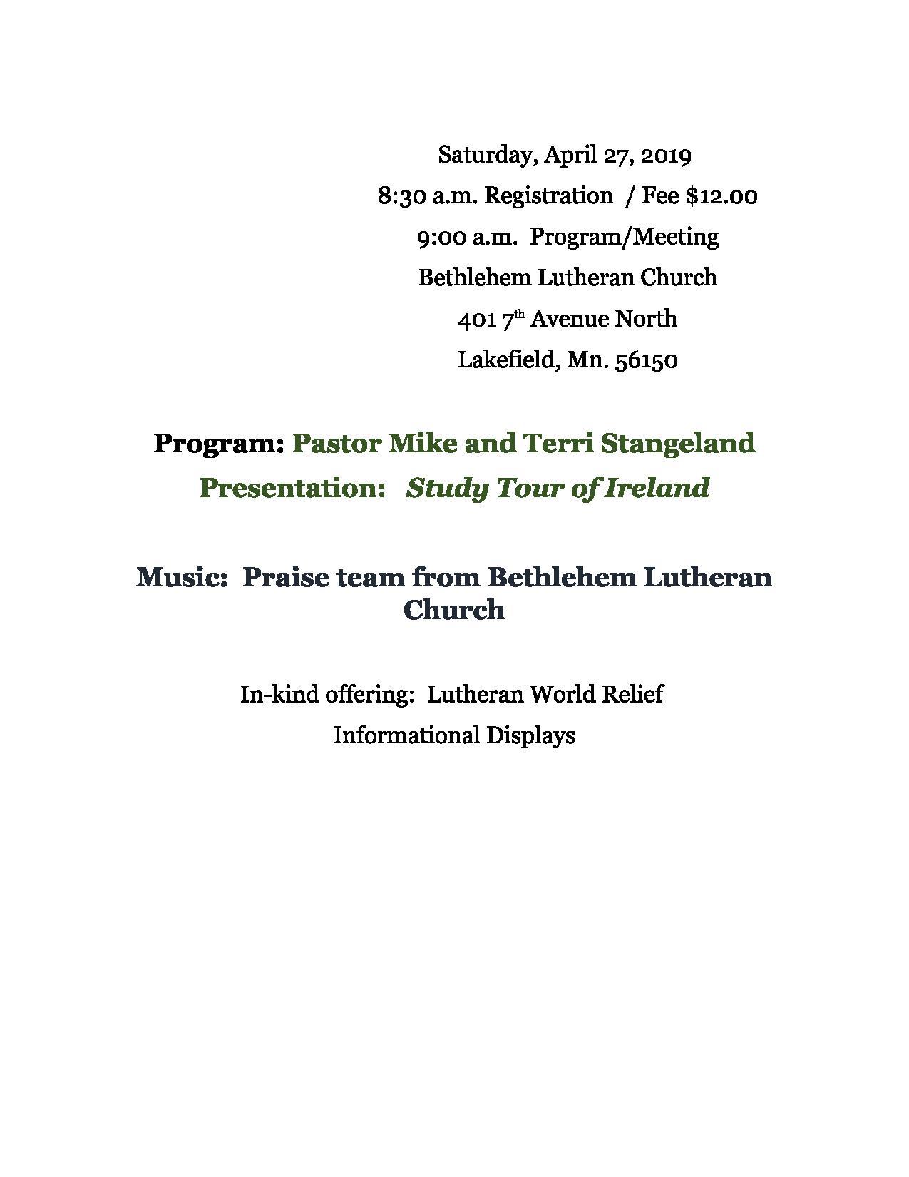 Shetek 2019 Spring Gathering @ Bethlehem Lutheran Church