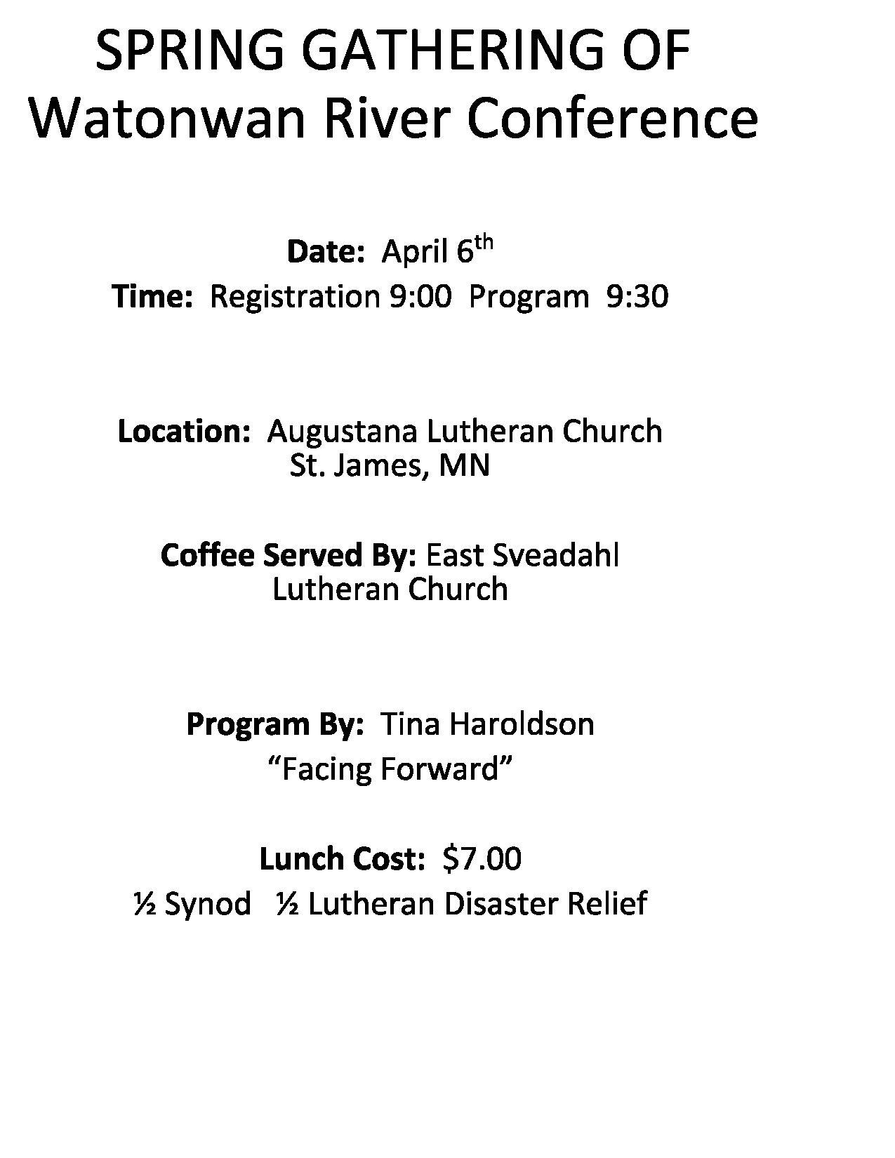 Watonwan River 2019 Spring Gathering @ Augustana Lutheran Church